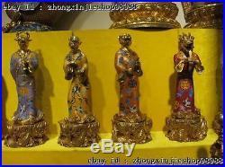 Sign China 100% Pure Bronze 24K Gold cloisonne twelve zodiac animals Statue Set