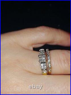 Size 8 Diamond Wedding ring sets for women Pure 14k gold