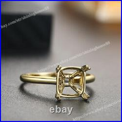 Solid 10K Yellow Gold Perfect Semi Mount Ring Cushion Cut 10x10mm Handcrafted