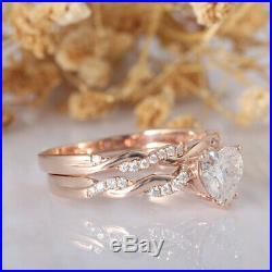 Solid 10k Rose Pure Gold Engagement Twisted Ring Bridal Set 1.50 Carat Dimaond