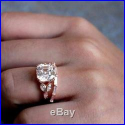 Solid 10k Rose Pure Real Gold Pear Diamond Bridal Set Wedding Engagement Ring