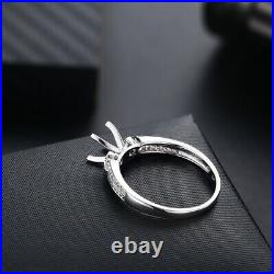 Solid 18K White Gold Round 6mm Perfect Semi-Mount Ring Prong Setting Diamonds