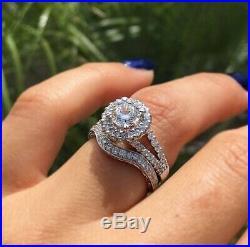 Solid Bridal Engagement Wedding Band Ring Set 10k Real White Pure Gold Diamond