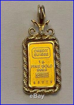 Solid CREDIT SUISSE 999 Pure Gold 1g Pendant Ingot Set In 14kt Bezel with Diamond