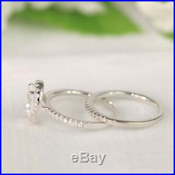 Solitaire 2.70 Ct Diamond Ring Size 7 6 5.5 14K Pure White Gold Wedding Band Set