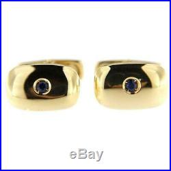 Solitaire Dark Blue Sapphire In Pure 10K Yellow Gold Men's Wedding Cufflinks Set