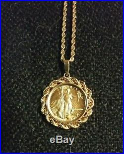 Standing Liberty 1/10 oz pure gold coin in 14 Kt Setting with 24 14 kt Chain