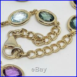 Sterling 925 silver faceted stone set long necklace gold pl perfect condition