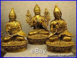 Tibet Buddhism 100% Pure Bronze 24K Gold Three Guru Tsongkhapa Buddha Statue Set