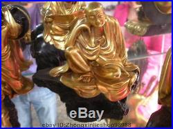 Tibet Pure Bronze 24K Gold Buddhism Custodian eighteen Arhat Monk Buddha Set