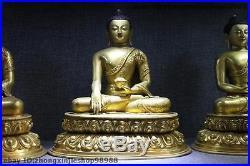 Tibet Pure Bronze 24K Gold Gilt Three Sakyamuni Tathagata Amitabha Buddha Set