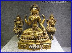 Tibet Pure Bronze Red Copper 24K Gold Four-Hands White Green TaRa Kwan-Yin Set