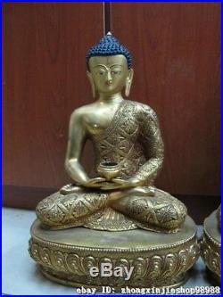Tibet pure Bronze 24K Gold exquisite Carved Dragon Sakyamuni Buddha Statue SET