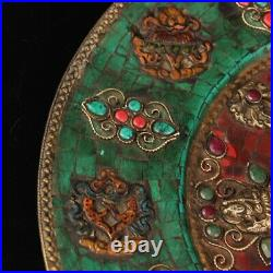 Tibet temple Pure copper set Gem Tracing gold Eight treasures Buddha plate