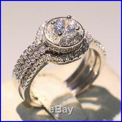 Trio Set Bezel Fine Perfect Engagement Wedding Ring 2.2Ct Diamond 14K White Gold
