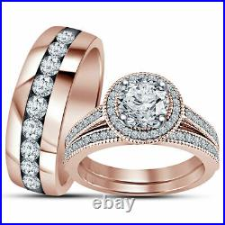Trio Wedding Diamond Engagement Band Ring Set Solid 10K Rose Real Pure Gold