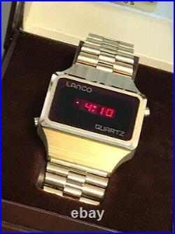 Ultra rare LANCO red led Quartz watch, omega, perfect condition, full set