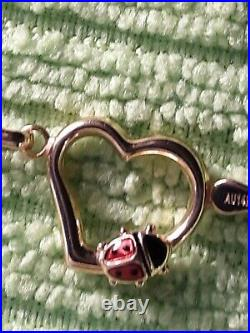 VINTAGE 14K PURE SOLID YELLOW GOLD ENAMEL LADYBUG Set on Heart BRACELET 7-7.49