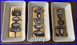 VINTAGE PIERO FORNASETTI GOLD SET OF 6 APPETISER DISHES 1960s RARE & PERFECT