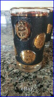 VIntage American Coin Black with gold trim & coins set of 8 perfect highball glass