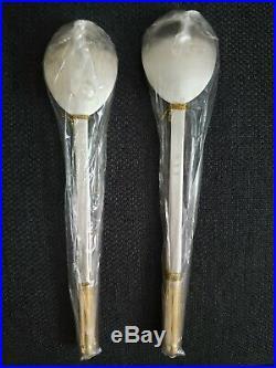 VTG Fine Korean 99% Pure Silver Spoon & Chopsticks 3pc Sets x 2, Gold Plated