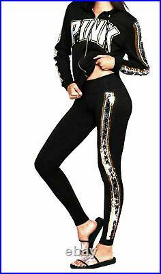 Victoria's Secret Pink Bling Perfect FZ Hoodie + Leggings Black Silver Gold L