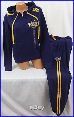 Victorias Secret PINK sz M setPerfect ¼-Zip Hoodie & Campus Pant blue/gold