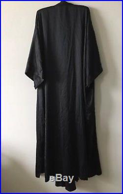Victorias Secret Vintage Gold Label Black PURE SILK Nightgown and Robe Set sz S