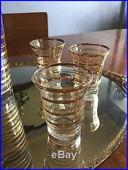 Vintage 22kt Gold Glass Martini COCKTAIL SHAKER SET & 6 Glasses, PERFECT