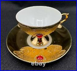 Vintage Coffee Tea Set FLORES Bavaria for 6, Pure Gold with Gems, 15 items
