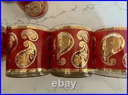 Vintage Culver GLASSES Red and 22k Gold Paisley 12 pc SET! PERFECT