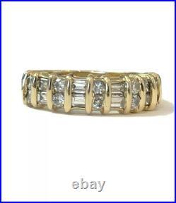 Vintage Diamond 14k Gold Band Channel Set 1ct Size 7 Perfect & Vibrant