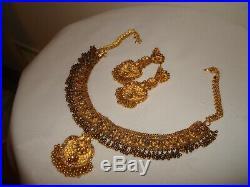 Vintage India Style Set 22k/ 20k Pure Gold Filigree Necklace Earrings Enamel