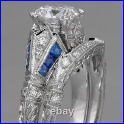 Vintage Perfect Art Deco Bridal Set Ring 14K White Gold Over 2.1Ct Round Diamond