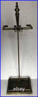 Vintage Perfect Brass & Cast Iron 5 Piece Fire Place Tool Set weight 12lbs