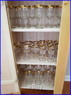 Vintage Pre-Owned CZECH Crystal Gold Rimmed Stemware Set of 36 Pieces PERFECT