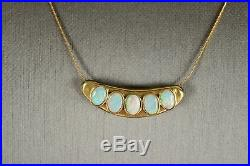 Vintage Quintet of Opals Set in Pure 14K Gold Solid Gold Italian Chain 18