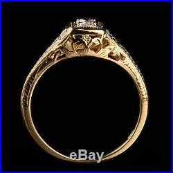 Vintage Solid 10K Yellow Gold Pave Cubic Zirconia Art Deco Ring Perfect Setting