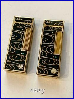 Vintage dunhill gas lighter Lacquer finish Makie Pure gold 2 set