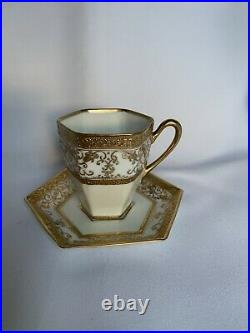 Vintage gold embellished nippon tea set, perfect condition, white