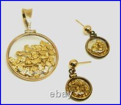 Vtg Antique 14k Yellow Gold Frame -22ct Pure Gold Flakes Pendant & Earrings Set