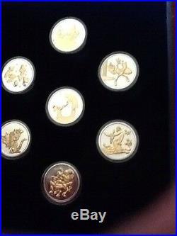 Walt Disney's Fantasia 7 Coin Set. 999 Pure Silver 22kt Gold Plated Nib