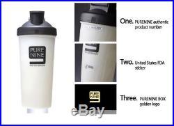 Water Bottle Tumbler Portable Alkaline PURE NINE PH9 White Bottle+ Gold Case Set