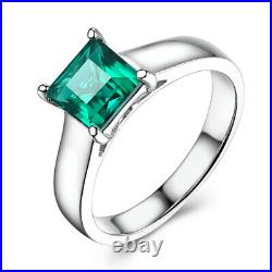 Wedding Perfect Ring Prong Setting 18K White Gold Treated Emerald Princess 6x6mm