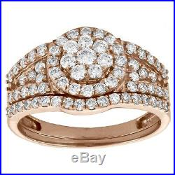 White Diamond 10k Real Rose Pure Gold Engagement Ring Wedding Bridal Ring Set