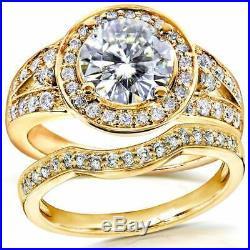 White Diamond 10k Yellow Real Pure Gold Round Wedding Band Set Engagement Ring