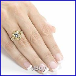 White Diamond Real Pure 10k Yellow Gold Cushion Wedding Band Set Engagement Ring