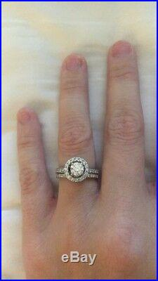 White Gold Halo Engagement Ring Set, Perfect for Your Proposal this Christmas