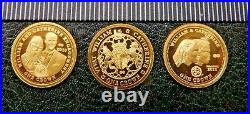William & Kate 2011 Royal Courtship 24ct 3 coin pure Gold Proof Set TDC Boxed