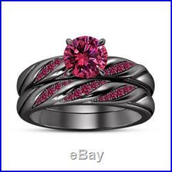 Women's Bridal Ring Set Round Cut Sapphire 10k Black Gold Finish 925 Pure Silver
